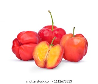 Group of red organic Acerola Cherry with half slice isolated on white background, High vitamin C and Antioxidant fruits