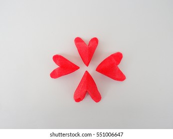 group of red paper heart on center position and white background
