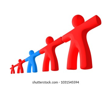 Group of red people figures in perspective string together with blue man isolated on white background. 3d rendered