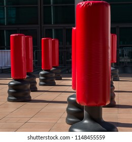 Group of Red Punching Bag for Kickboxing and Fitness Exercise