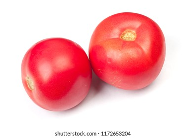 Group of red tomatoes isolated on white background