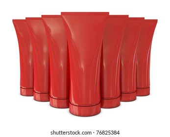 Group of red tubes packs isolated on white background