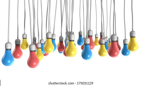 A group of regular hanging light bulbs attached to cables in the colors of coral, blue and yellow on an isolated white background