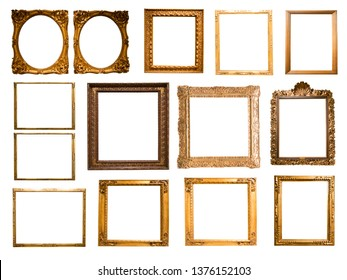group of retro golden rectangular frame for photography on isolated background