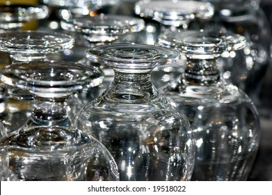group of reversed glasses, selective focus