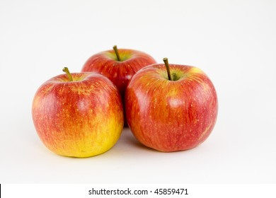 group of ripe apples isolated on a white background