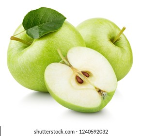 Group of ripe green apple fruits with apple half and green leaf isolated on white background. Apples with clipping path