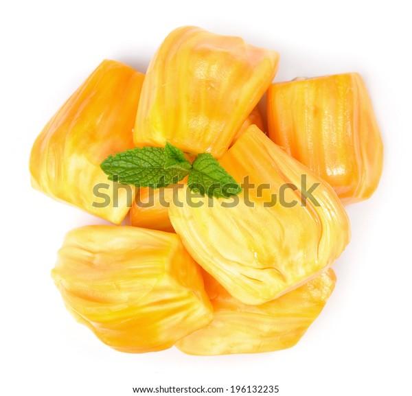 a group ripe jackfruit on white background
