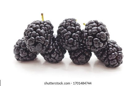 Group of ripe mulberries isolated on a white background.