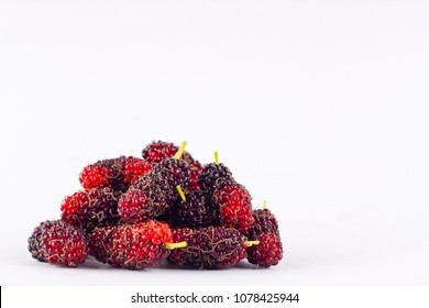 group of ripe mulberries on white background healthy mulberry fruit food isolated