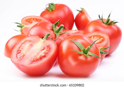 Group of ripe red tomatoes.