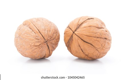 Group of ripe walnuts isolated in white background.