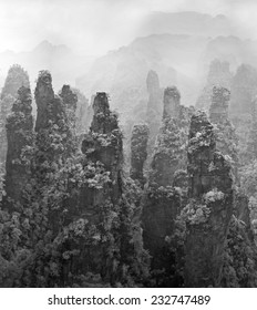 Group of rock columns mountain (Avatar rocks). Zhangjiajie National Forest Park was officially recognized as a UNESCO World Heritage Site - China (shot in the far infrared region of the spectrum)