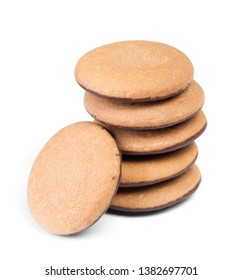 Group of round biscuit cookies isolated on white background