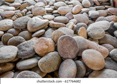 The group of round flat stones in gardening decoration.