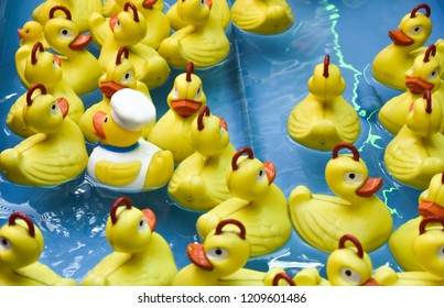 GROUP OF RUBBER YELLOW DUCKS WITH RED HOOKS OVER THE HEAD IN A POOL FOR FISHING TO GET A GIFT