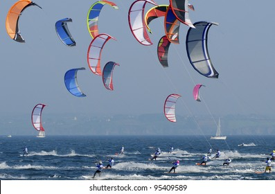 group of runner at kitesurfing competition sport