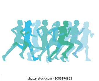 a group of runners together, Illustration