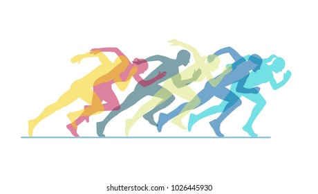 Group of running people on a white background.