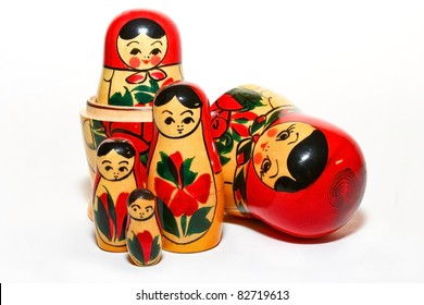 A Group of Russian Doll Isolated