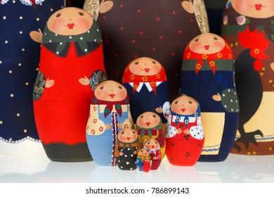 Group of Russian dolls babushka matryoshka isolated on white