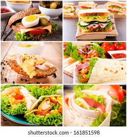 Group of sandwiches in tortilla and toast bread