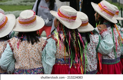 A group of school girls in native dress on a field trip in Lima Peru