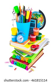 Group School supplies with the inscription: Back to school, isolated on white background.