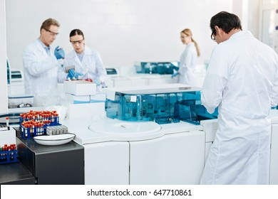Group of scientists working together