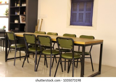 Group seating in a modern cafe