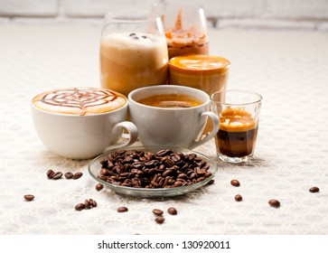 group selection of different Italian coffee type