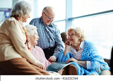 Group of senior friends chatting