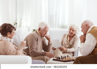 Group of senior friends spending active time together