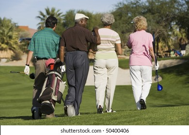 Group of senior golfers walking on golf course, back view