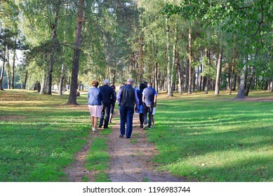 Group of senior and middle age people walking around park in autumn day back view image.