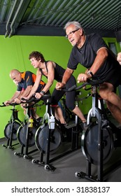 Group of senior people in a cycling class