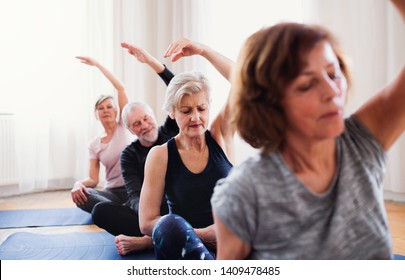 Group of senior people doing yoga exercise in community center club.