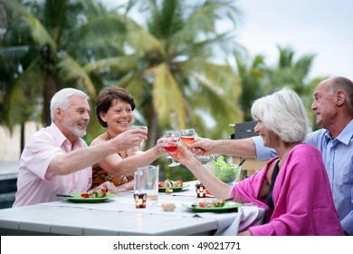 Group of senior people having a barbecue dinner