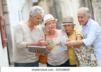 Group of senior people traveling in Europe