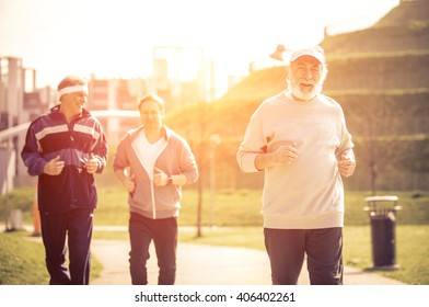 Group of seniors making jogging at the park