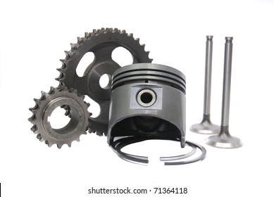group set of automotive engine sparepart combining piston,timing gear and valve