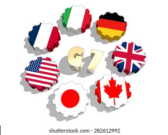group of seven countries flags on gears