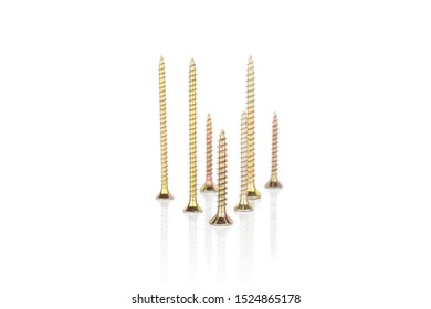 Group of seven whole metallic glossy bolt isolated on white background