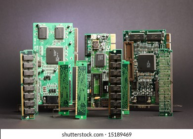 Group of several computer components vertically aligned