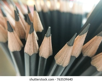 Group of sharped pencil. Selective focus. Meeting, seminar, study, education, office concept.