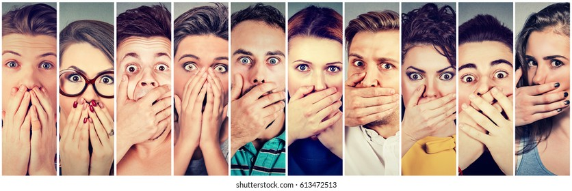 Group of shocked people men and women covering their mouth with hands