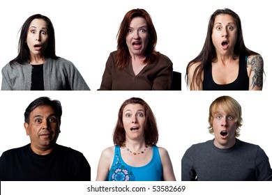 Group of shocked people reacting to the camera