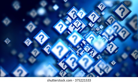 Group of signs with question marks on a blue backdrop, as a concept of questions of the choice from the internet community in cyberspace. Abstract futuristic horizontal background.