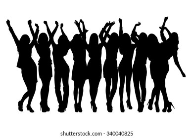 Group of silhouette girls dancing on the white background