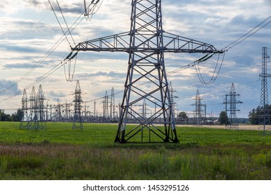 Group silhouette of transmission towers power tower, electricity pylon, steel lattice tower . Texture high voltage pillar, overhead power line.